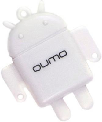 Карта памяти Qumo microSD (Class 10) 16GB (QM16GCR-MSD10-FD-WHT) - картридер FUNDROID
