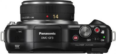 Беззеркальный фотоаппарат Panasonic DMC-GF3CEE-K (Black) - вид сверху