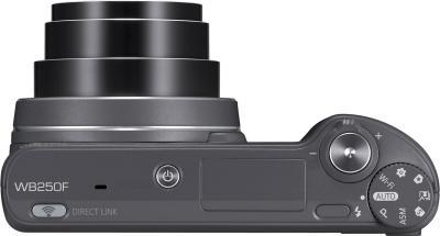Компактный фотоаппарат Samsung WB250F (Silver, EC-WB250FFPARU) - вид сверху