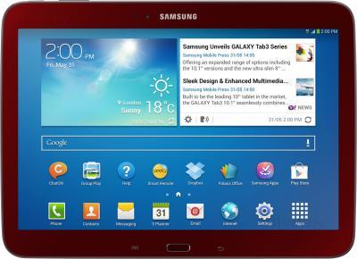 Планшет Samsung Galaxy Tab 3 10.1 GT-P5200 (16GB 3G Red) - фронтальный вид