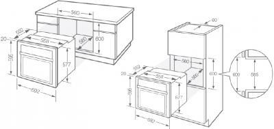 Электрический духовой шкаф Fagor 6H-876ATCX - схема встраивания