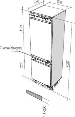 Холодильник с морозильником Fagor FIM6825 - схема встраивания