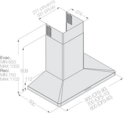 Вытяжка купольная Fagor СFS-60AX - схема