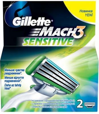 Сменные кассеты Gillette Mach3 Sensitive (2шт) - общий вид в упаковке