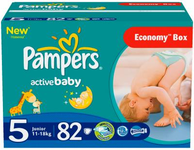 Подгузники Pampers Active Baby 5 Junior Giant Plus Pack (82шт) - общий вид
