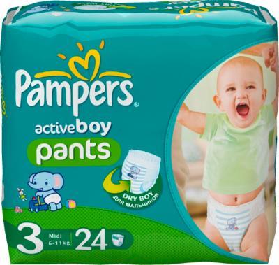 Подгузники-трусики Pampers Active Boy 3+ Midi (24шт) - общий вид