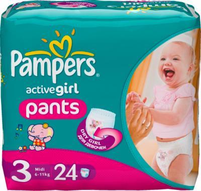 Подгузники-трусики Pampers Active Girl 3+ Midi (24шт) - общий вид