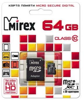 Карта памяти Mirex microSDXC UHS-I (Class 10) 64GB (13613-AD10SD64) - общий вид