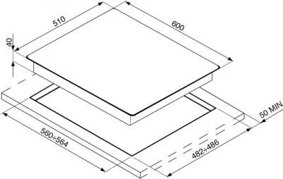Газовая варочная панель Smeg PV163S - схема