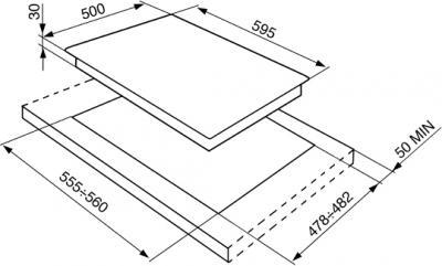 Газовая варочная панель Smeg SR264XGH - схема