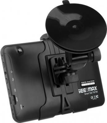 GPS навигатор SeeMax Smart TG730 - вид сзади с креплением на стекло