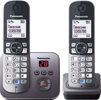 Беспроводной телефон Panasonic KX-TG6822 (серый металлик) - общий вид