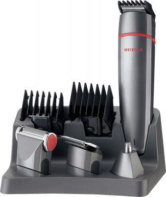 Машинка для стрижки волос Supra RS-401 - общий вид на подставке с насадками