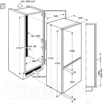 Холодильник с морозильником Electrolux ENN92801BW