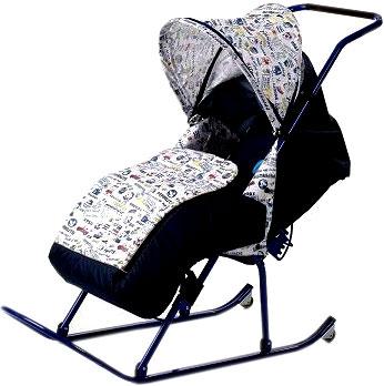 Санки-коляска ВЭЛ Мила (синие) - общий вид