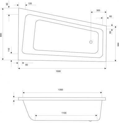 Ванна акриловая Excellent Ava Comfort 150x80 R - габаритные размеры