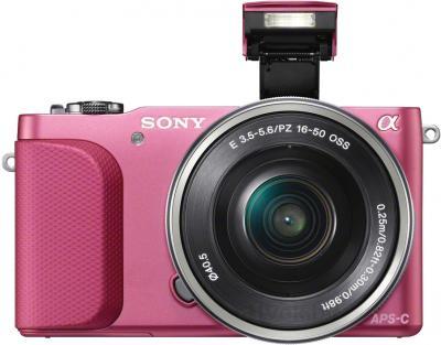 Зеркальный фотоаппарат Sony NEX-3NLP - вид спереди со вспышкой