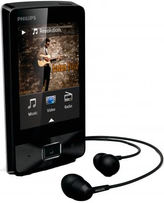 MP3-плеер Philips SA4MUS08KF/97 (8Gb, Black) - общий вид с наушниками
