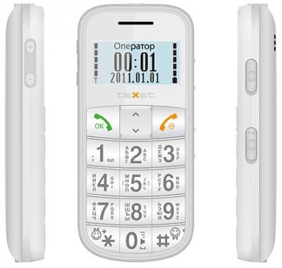 Мобильный телефон TeXet TM-B110 (Pearl) - общий вид с боковыми панелями