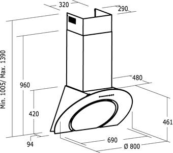 Вытяжка декоративная Nodor O2 L/C - размеры