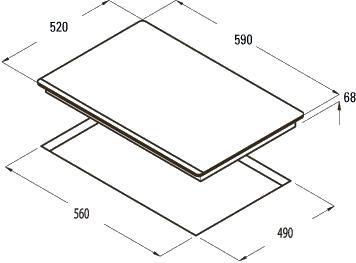 Индукционная варочная панель Cata IS 603 B WH/A - схема встраивания
