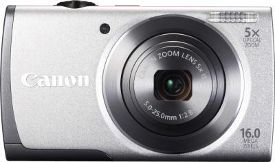 Компактный фотоаппарат Canon PowerShot A3500 (серебристый) - вид спереди