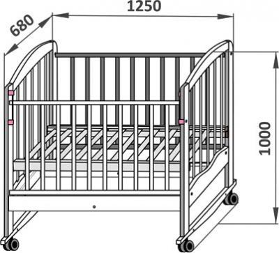 Детская кроватка СКВ 111117 (орех) - габариты