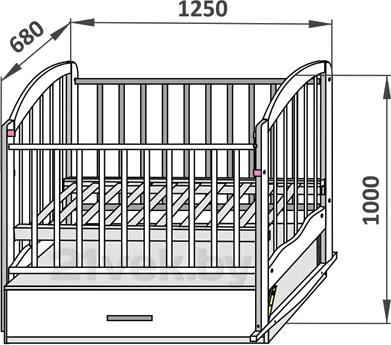 Детская кроватка СКВ 112005 (береза) - размеры