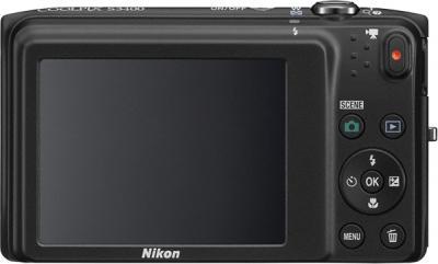 Компактный фотоаппарат Nikon Coolpix S3400 (Black) - вид сзади