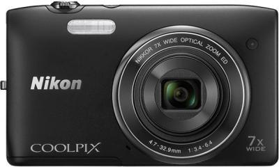 Компактный фотоаппарат Nikon Coolpix S3400 (Black) - вид спереди
