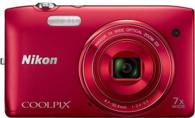 Компактный фотоаппарат Nikon Coolpix S3400 (Red) - вид спереди