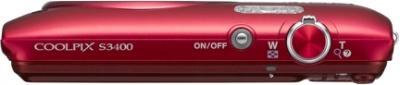 Компактный фотоаппарат Nikon Coolpix S3400 (Red) - вид сверху