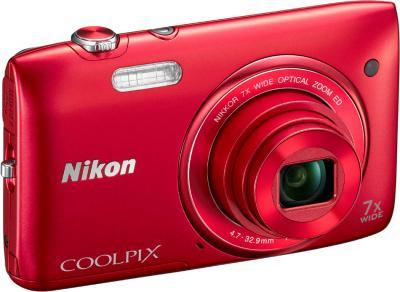 Компактный фотоаппарат Nikon Coolpix S3400 (Red) - общий вид