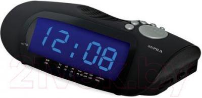 Радиочасы Supra SA-16FM (черно-синий) - общий вид