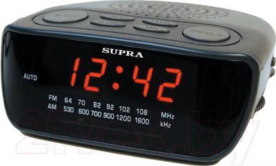 Радиочасы Supra SA-36FM (черно-красный) - общий вид