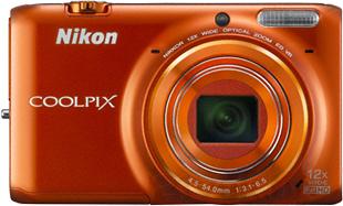 Компактный фотоаппарат Nikon Coolpix S6500 (Orange) - вид спереди