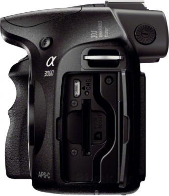Беззеркальный фотоаппарат Sony ILC-E3000KB - вид спереди