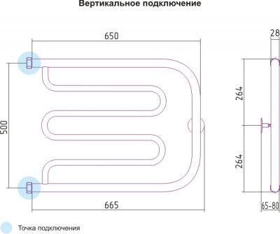 Полотенцесушитель водяной Сунержа Лира 500x650 - схема