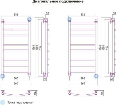 Полотенцесушитель водяной Сунержа Галант 1000x500 - схема