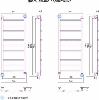 Полотенцесушитель водяной Сунержа Галант 1200x500 - схема