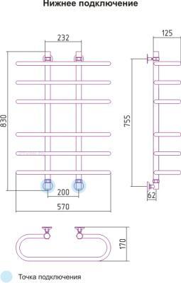 Полотенцесушитель водяной Сунержа Фурор 800х600 - схема