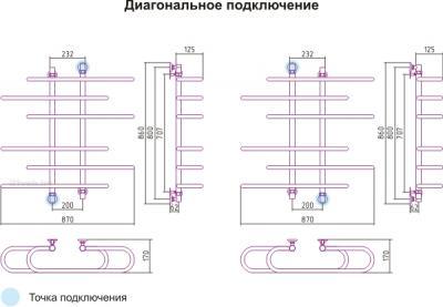 Полотенцесушитель водяной Сунержа Фурор-Ёлочка 800x900 - схема