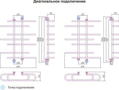 Полотенцесушитель водяной Сунержа Фурор-Ёлочка 1000х900 - схема