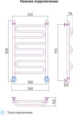 Полотенцесушитель водяной Сунержа Элегия 800x500 - схема