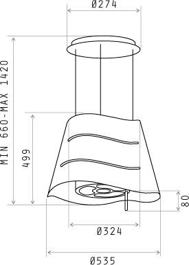 Вытяжка коробчатая Elica Wave IX/F - размеры