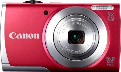 Компактный фотоаппарат Canon PowerShot A3500 (красный) - вид спереди