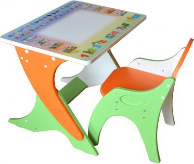 Стол+стул Интехпроект Буквы-цифры 14-353 (эвкалипт/оранжевый) - общий вид