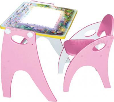 Парта-мольберт+стул Интехпроект День-ночь 14-355 (розовый) - общий вид
