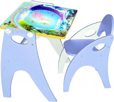 Парта-мольберт+стул Интехпроект Части света 14-368 (голубой) - общий вид