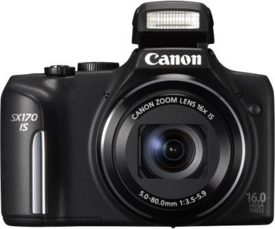 Компактный фотоаппарат Canon PowerShot SX170 IS (черный) - вид спереди